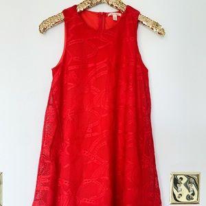 Red Lace / Open Knit Babydoll Mini Dress